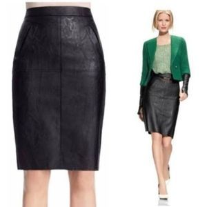 CAbi Sz 10 Black Faux Leather Skirt